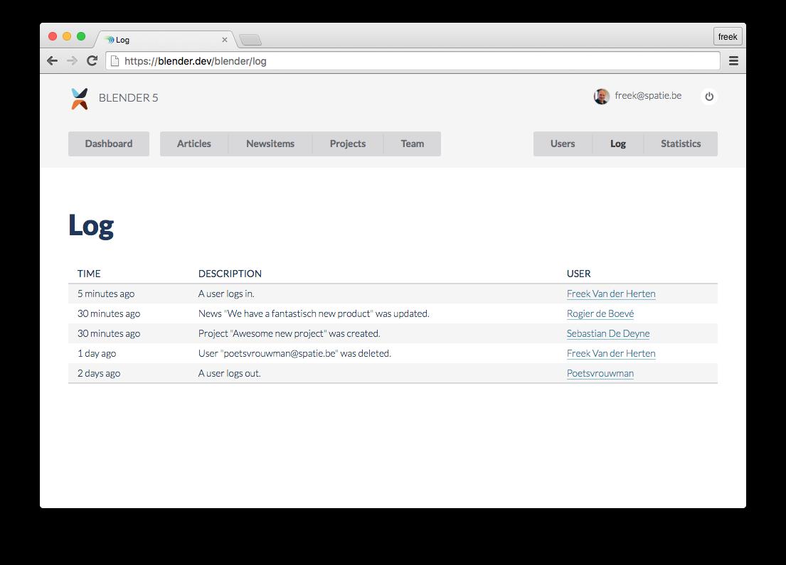 A package to log activity in a Laravel app - Freek Van der Herten's