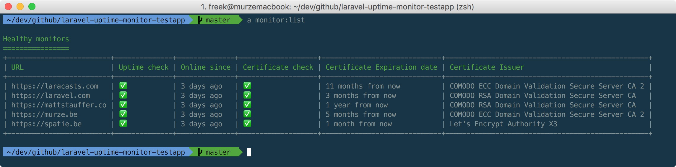 An uptime and ssl certificate monitor written in PHP - Freek