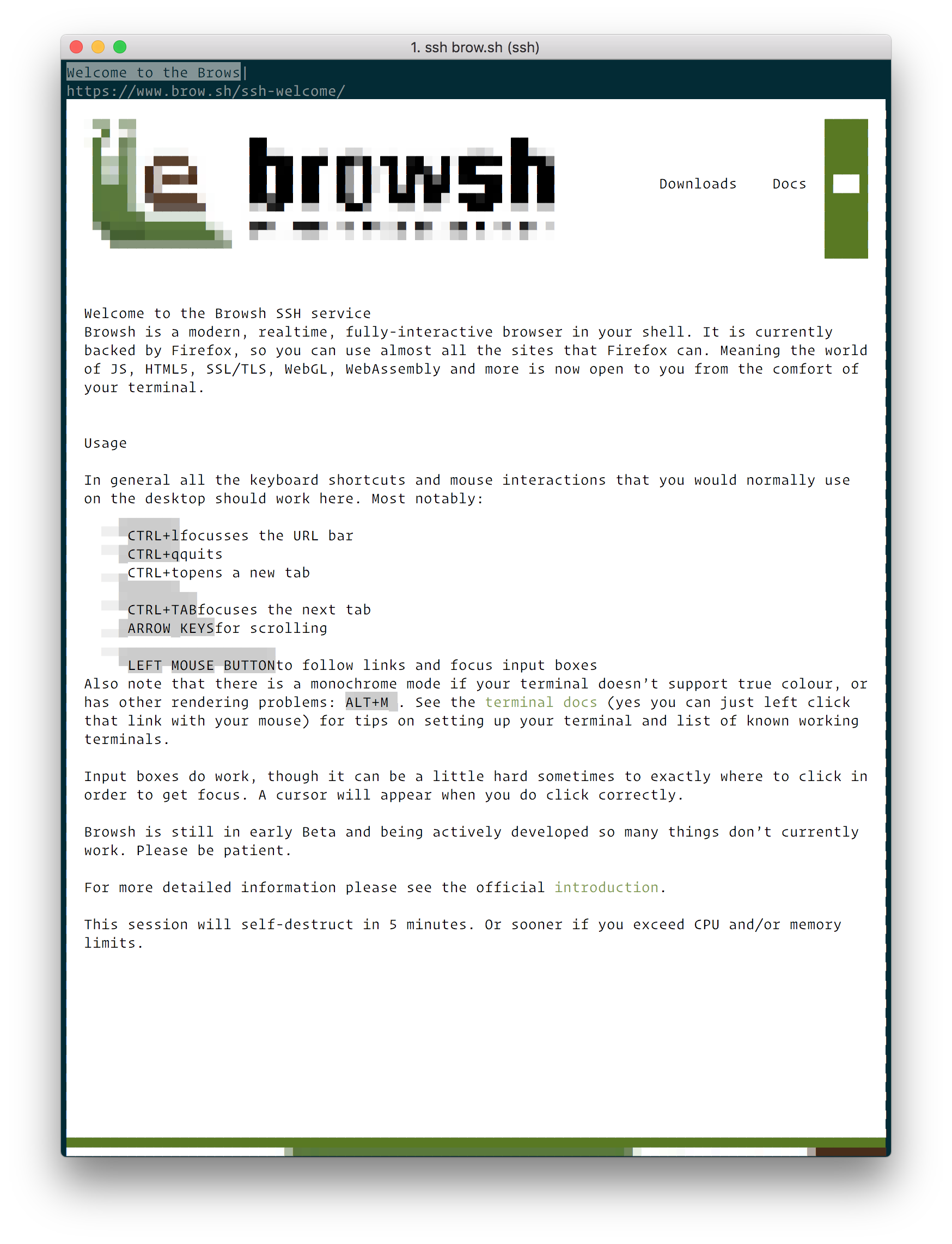 Browsh homepage