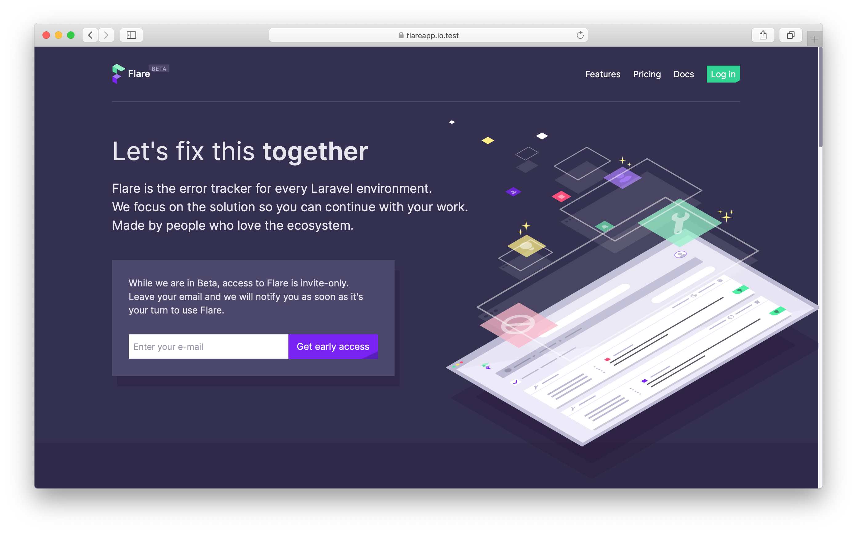Flare home page