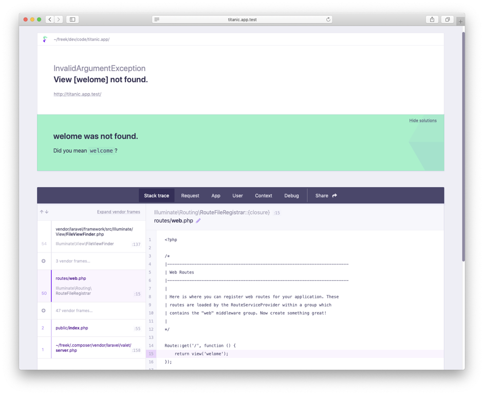 Ignition: a new error page for Laravel - Freek Van der
