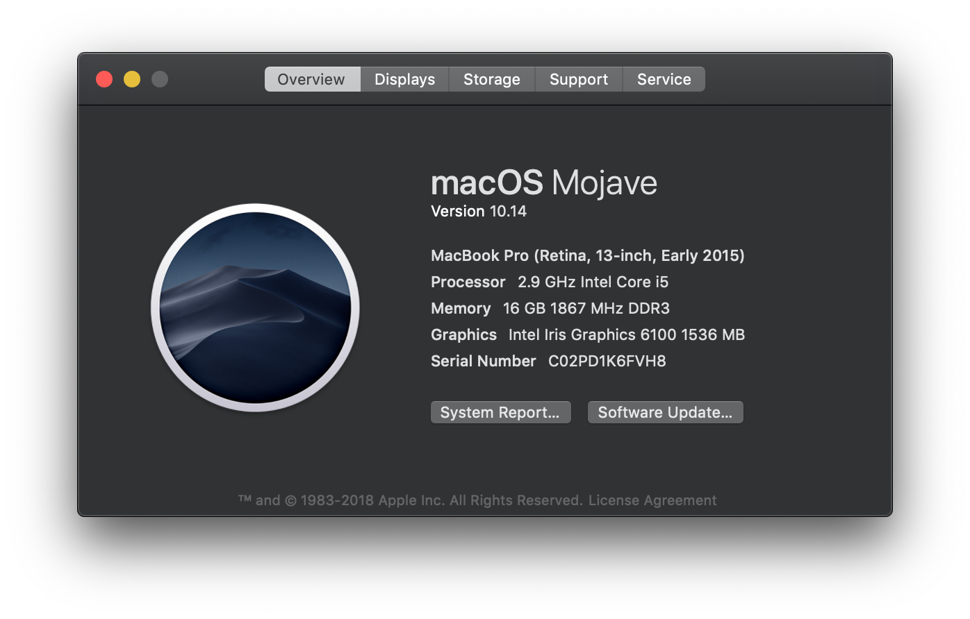 Mac info window